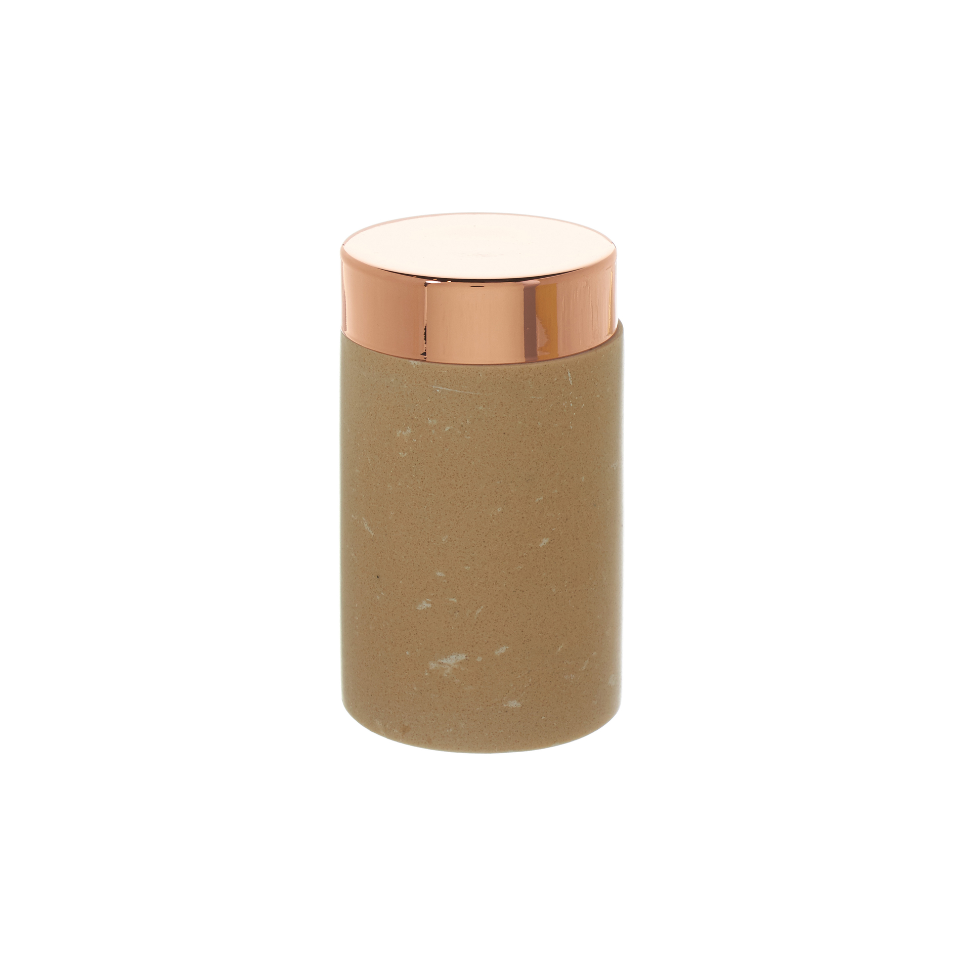 cotton wool container in marble and copper coloured metal. Black Bedroom Furniture Sets. Home Design Ideas