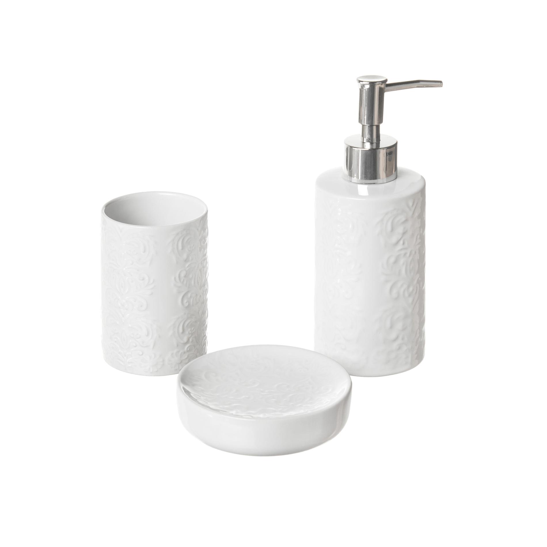 Set of 3 ceramic bathroom accessories - coincasa