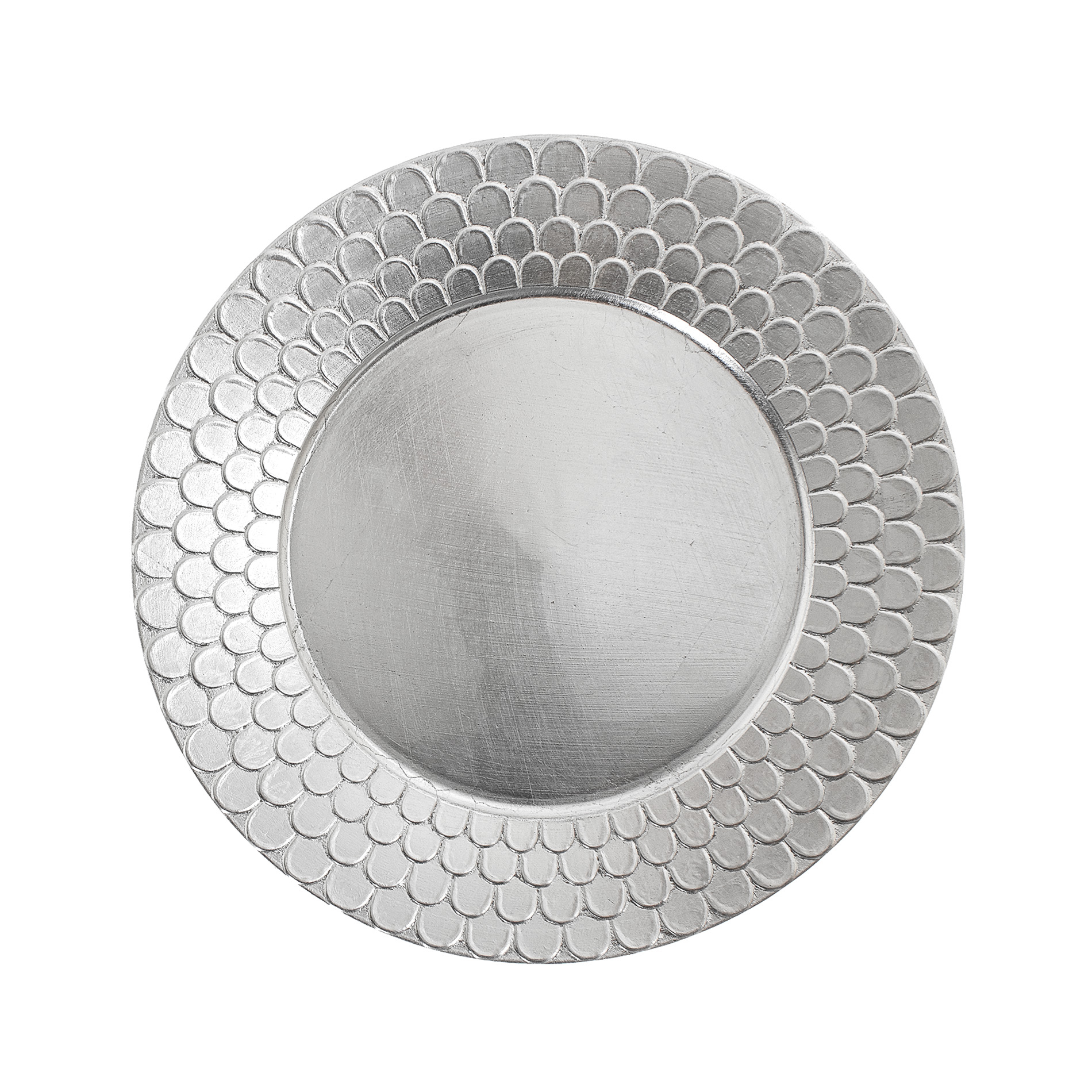 Silver plastic charger plate with decorated edging  sc 1 st  Coincasa & Silver plastic charger plate with decorated edging - coincasa