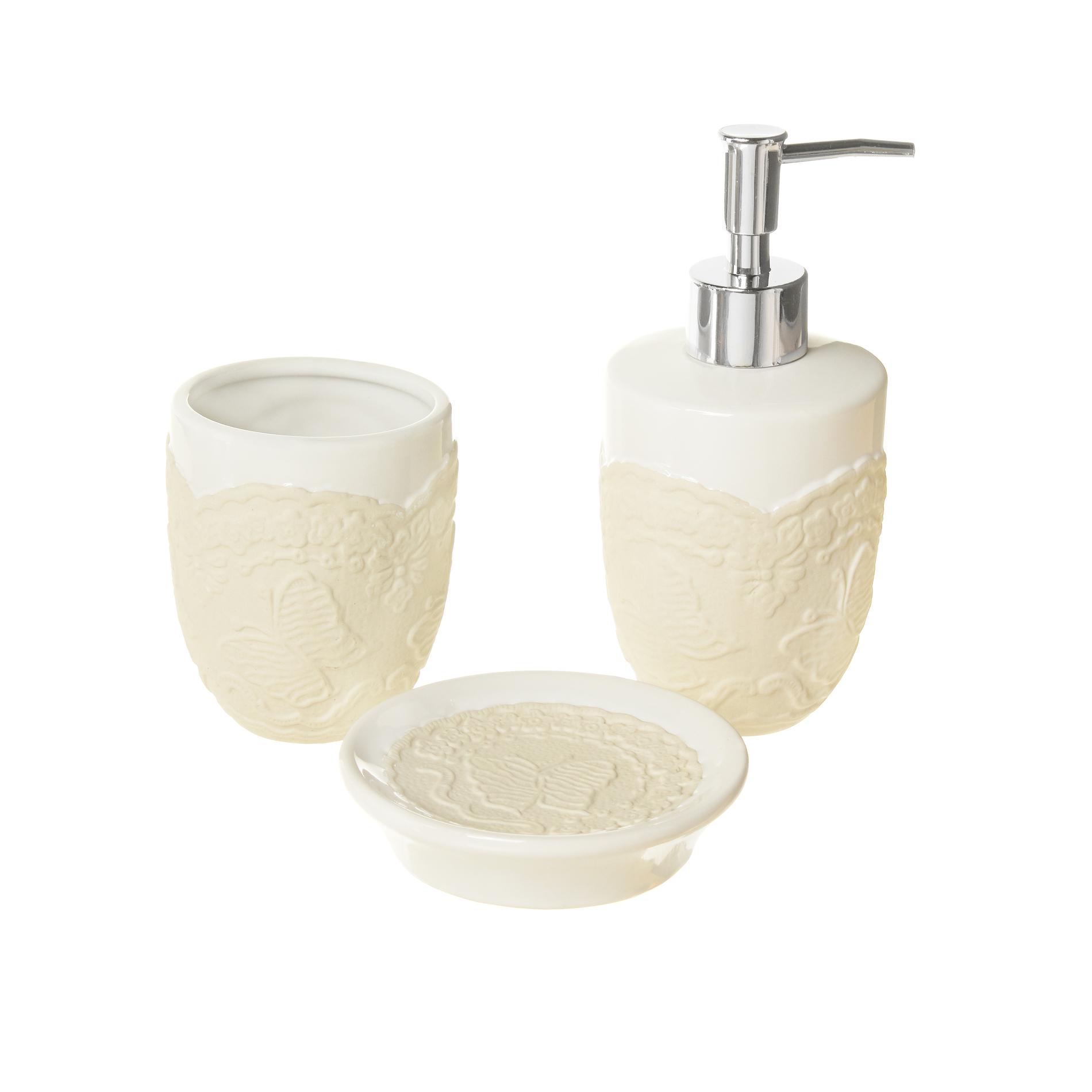 Set di 3 accessori bagno in ceramica coincasa - Set accessori bagno ...