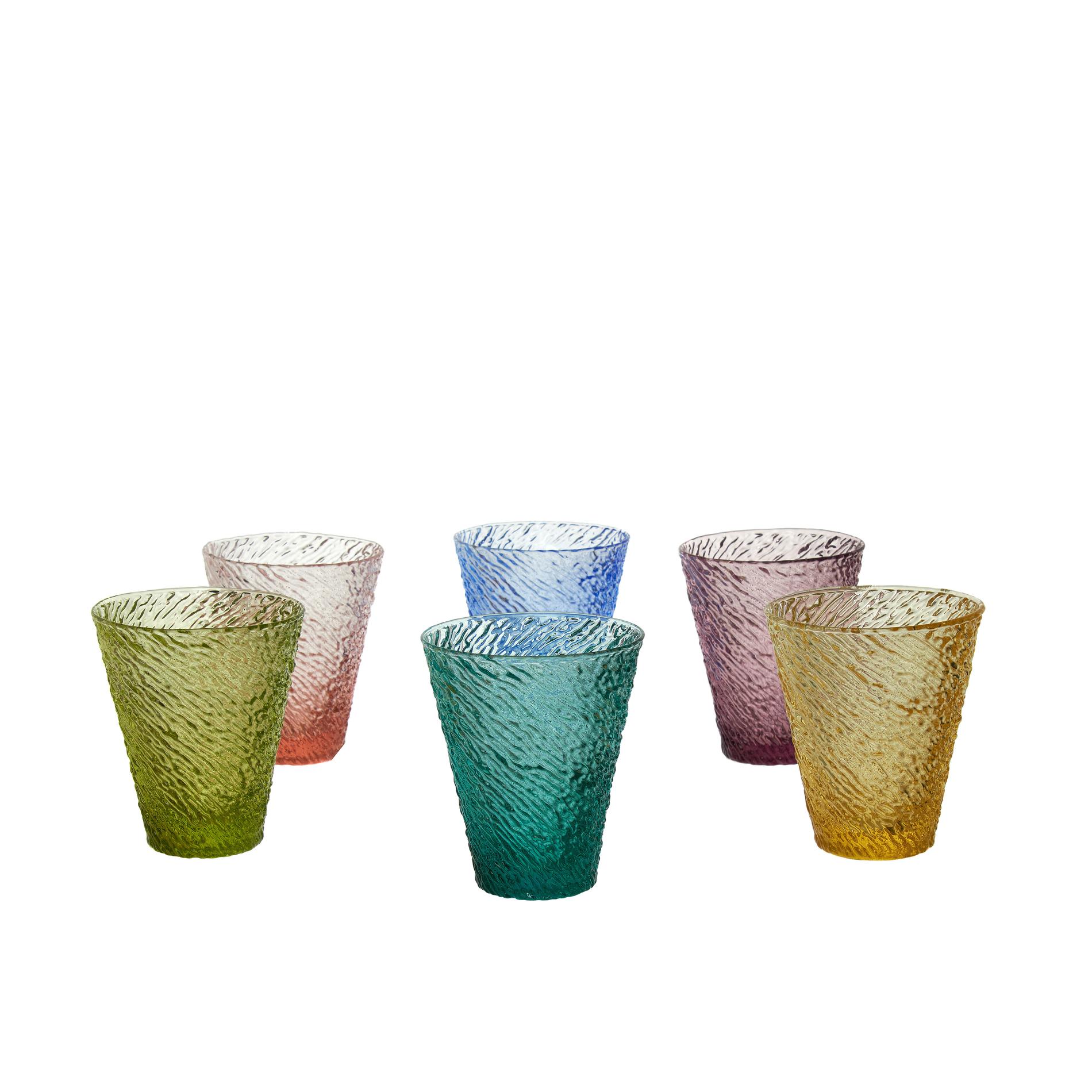 Set 6 bicchieri in vetro multicolore coincasa - Coincasa bicchieri ...