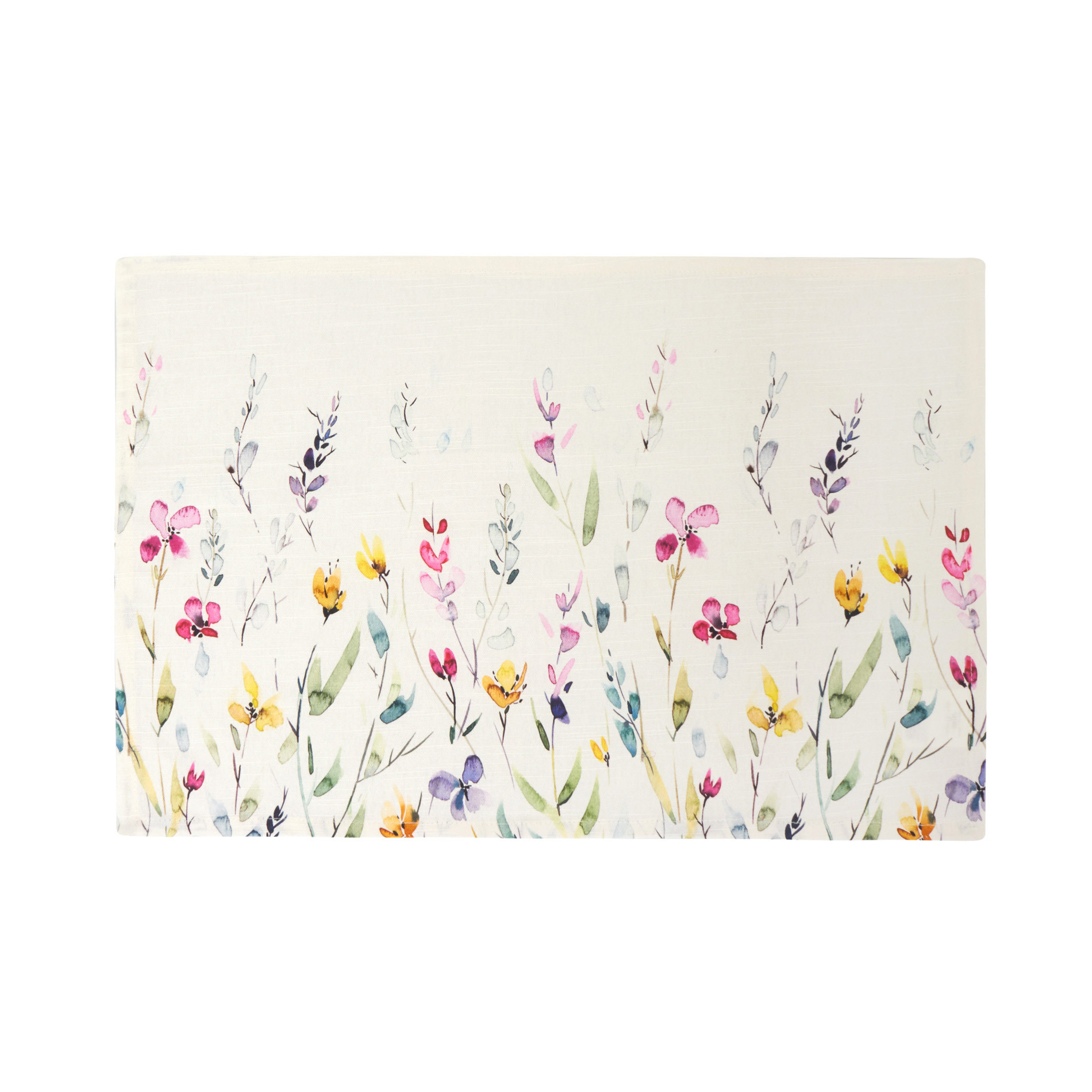 Watercolour Flowers Table Mat In 100 Cotton Coincasa