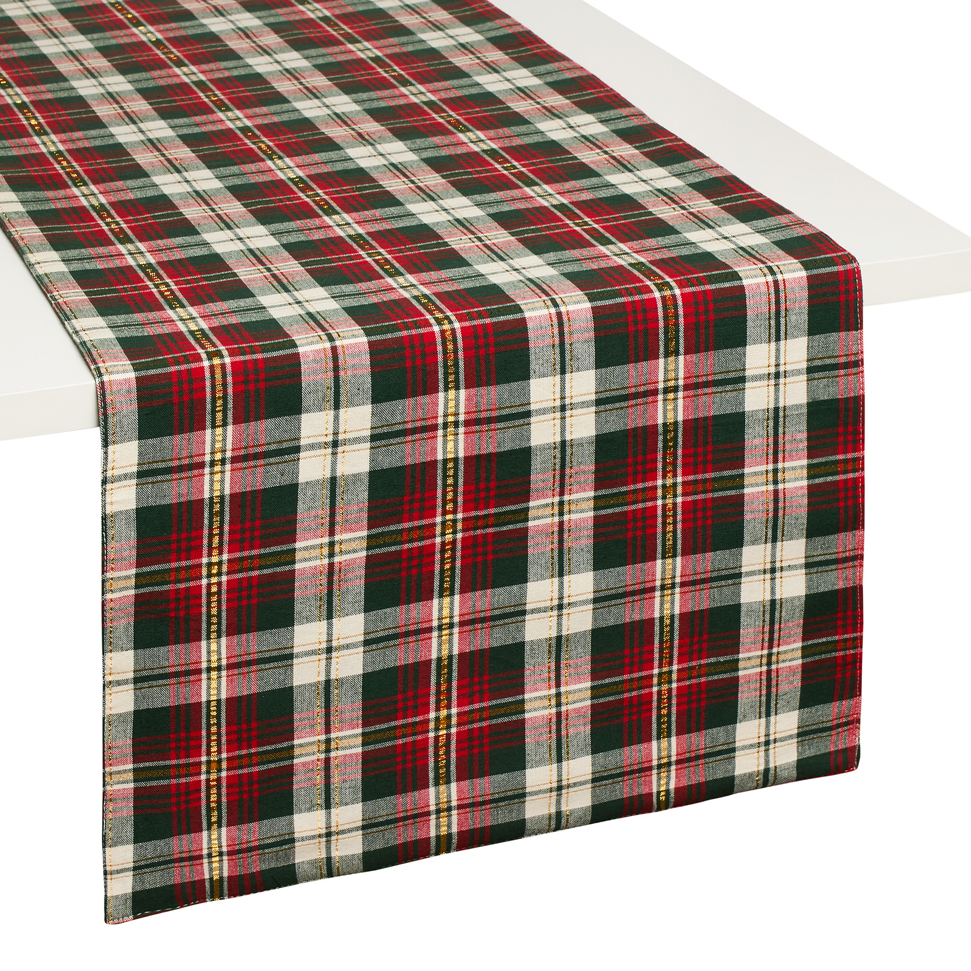 Tartan Table Runner In 100% Yarn Dyed Cotton And Lurex