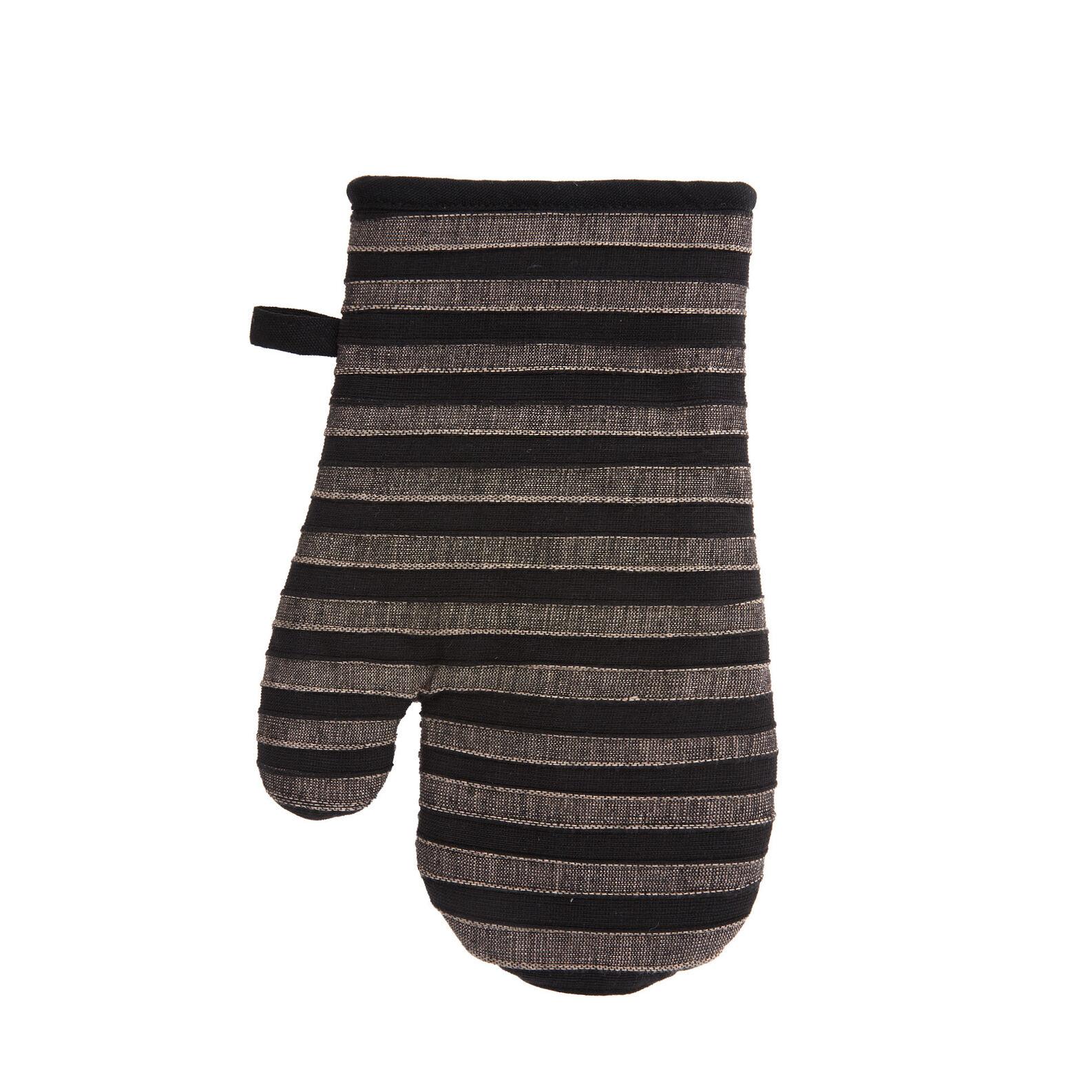 Striped oven mitt in 100% cotton