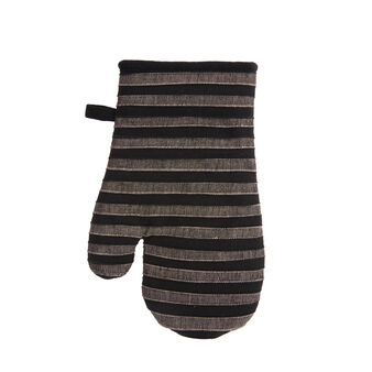 Striped oven mitt in 100% cotton