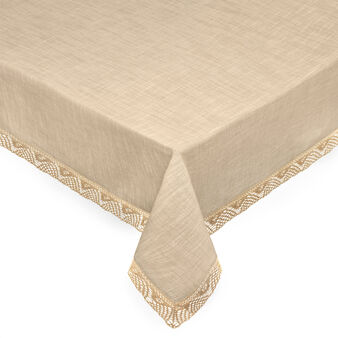 100% cotton table cloth with lace trim.