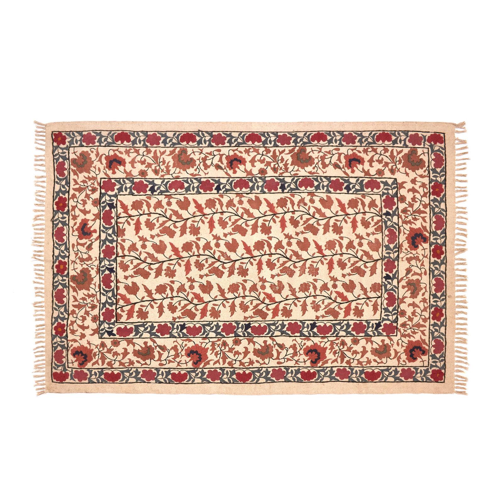 Tappeto puro cotone motivo floreale