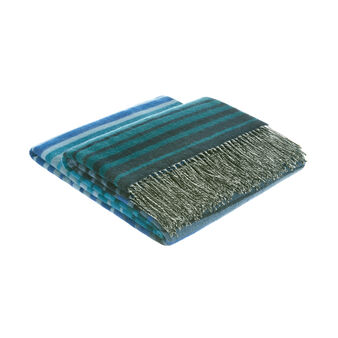 Wool blend throw with multi-stripe design