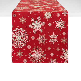 Gobelin table runner with snowflakes motif
