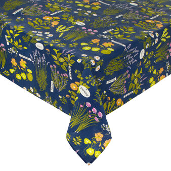 100% waterproof cotton tablecloth with Herbarium print