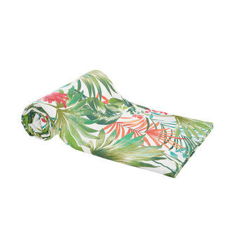 100% cotton throw with tropical print