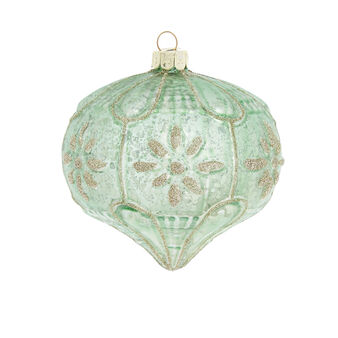 Hand-decorated distressed-effect onion bauble