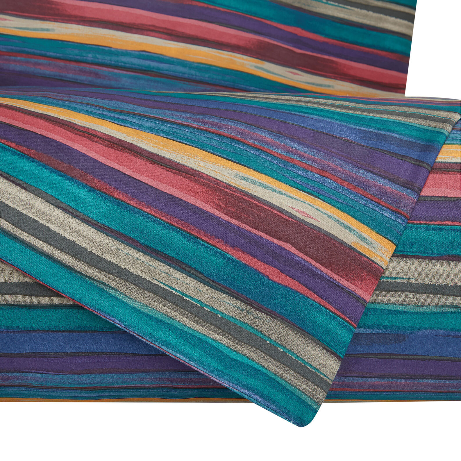 Flat sheet in cotton satin with striped pattern