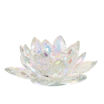 Flower-shaped candle holder in crystal