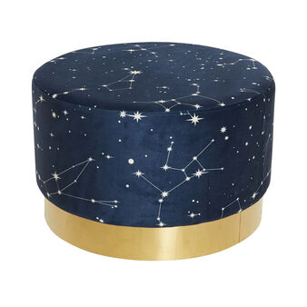 Constellation velvet pouf with print
