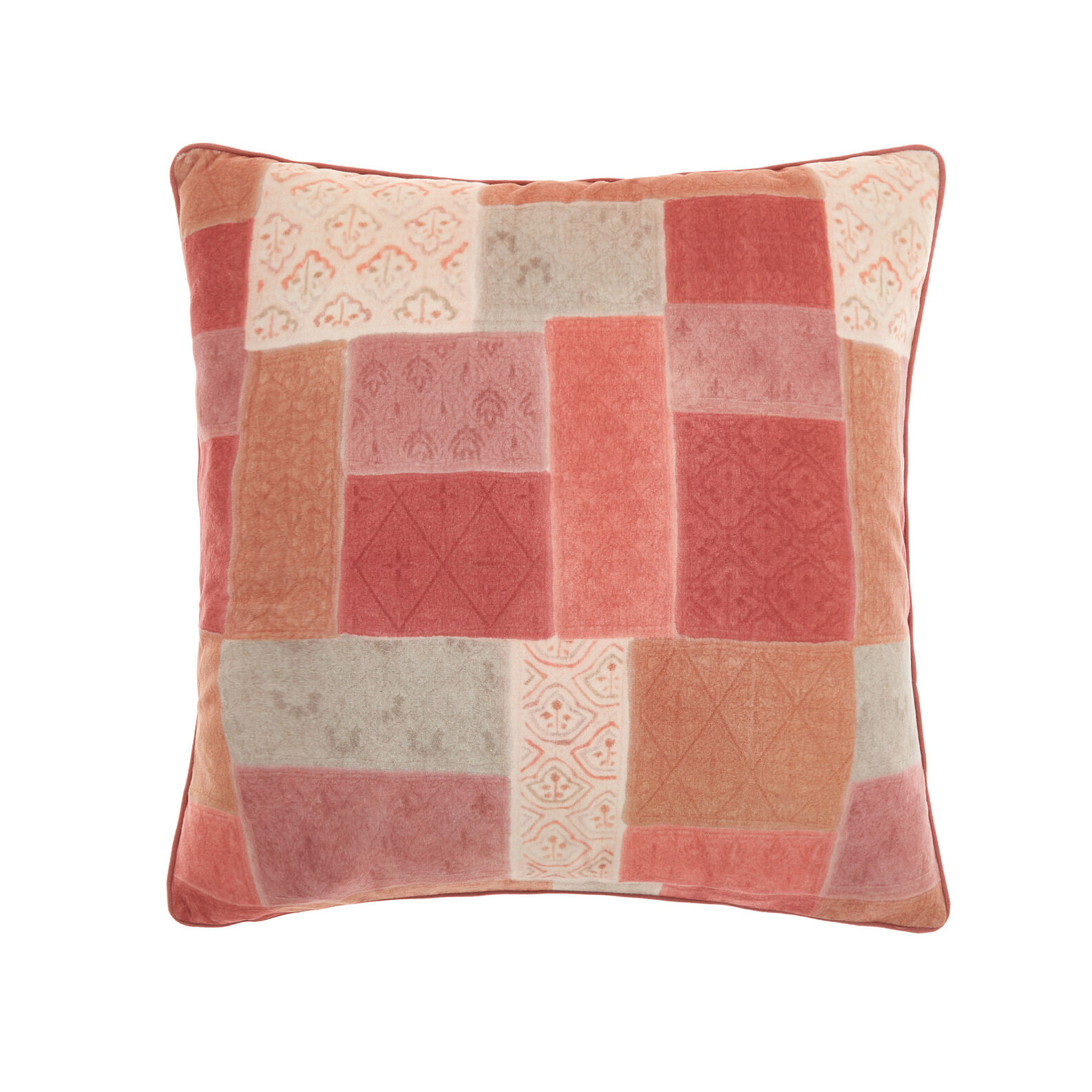 Patchwork-effetct cushion 45x45cm