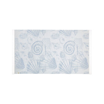 Cotton jacquard beach towel and sarong with shell design
