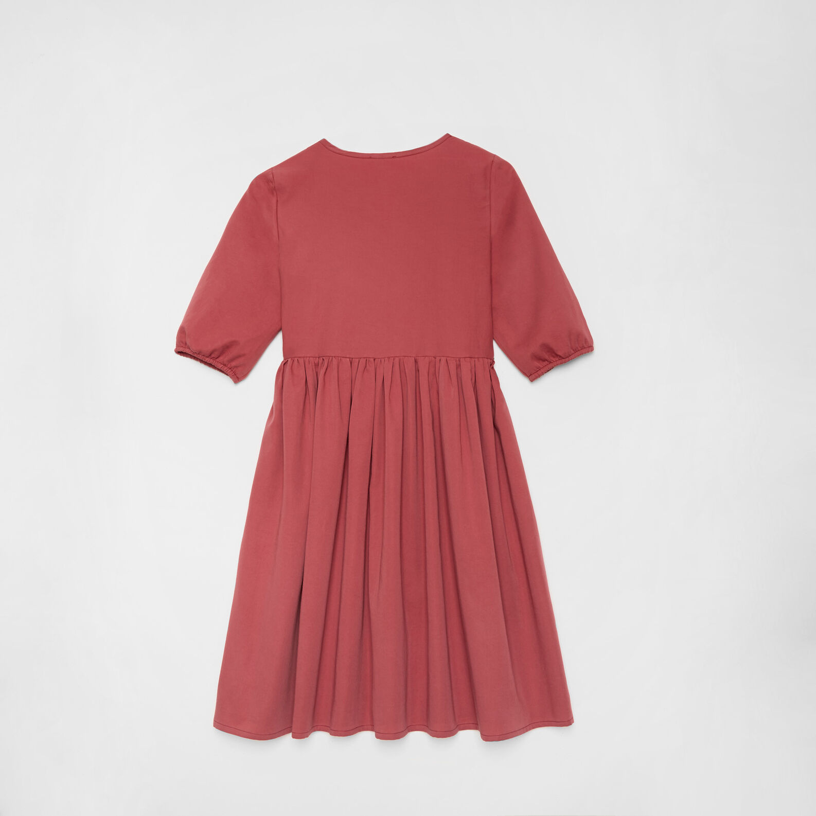 Solid colour cotton satin dress with gathering