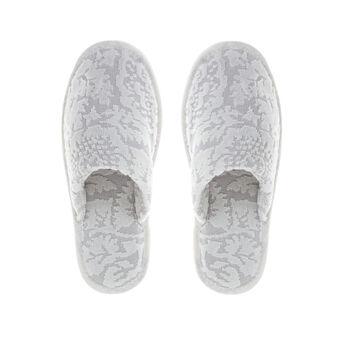 100% cotton slippers with velvet flowers