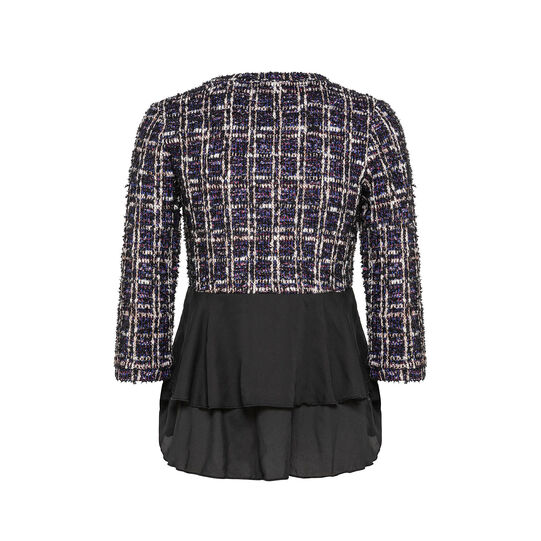 Multicolor patterned sweater with lurex and flounce detail on the bottom