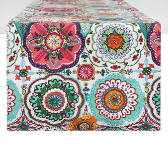 100% cotton table runner with abstract print