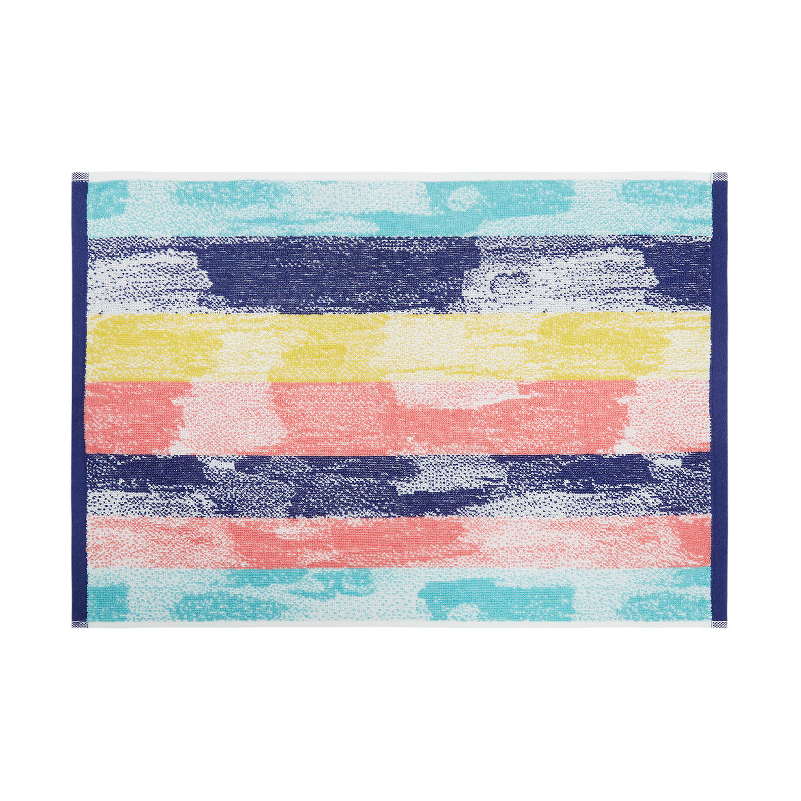 Cotton terry towel with brush strokes pattern