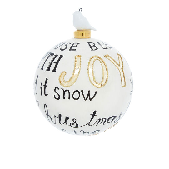 Hand-decorated greetings bauble