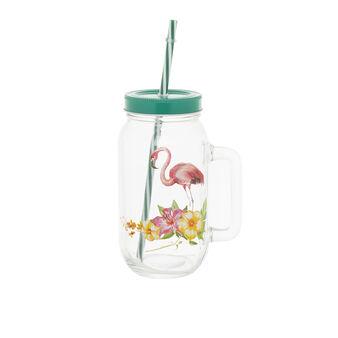 Mug vetro con cannuccia decoro fenicottero
