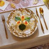 Set 18 piatti new bone china decoro foglie