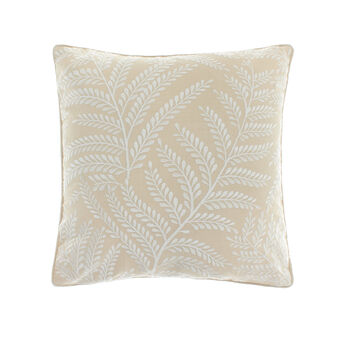 Cotton cushion with leaf embroidery