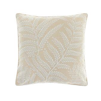 Cuscino cotone ricamo foglie