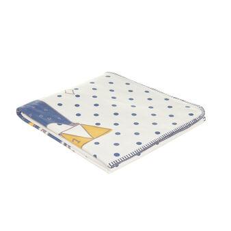 Micro-fleece blanket with teddy bear print and polka dots