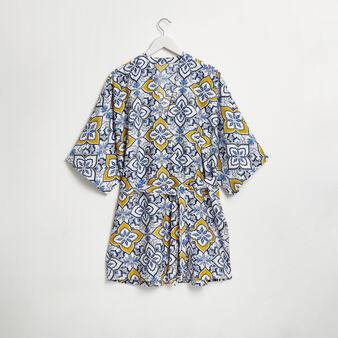 Short majolica print dressing gown