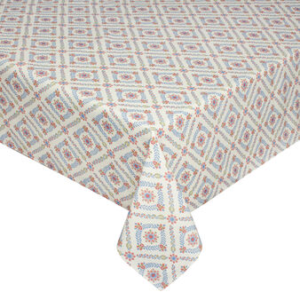 Tablecloth and napkins set in 100% cotton with geometric floral print.