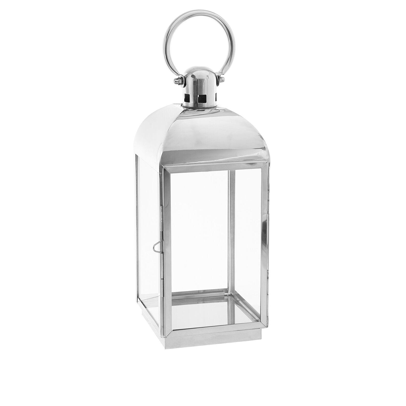 Glass and chrome metal lantern