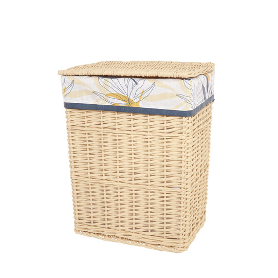 Laundry basket in wood and fabric