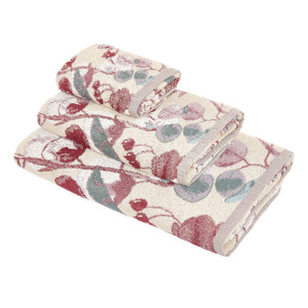 Yarn-dyed cotton towel with floral design