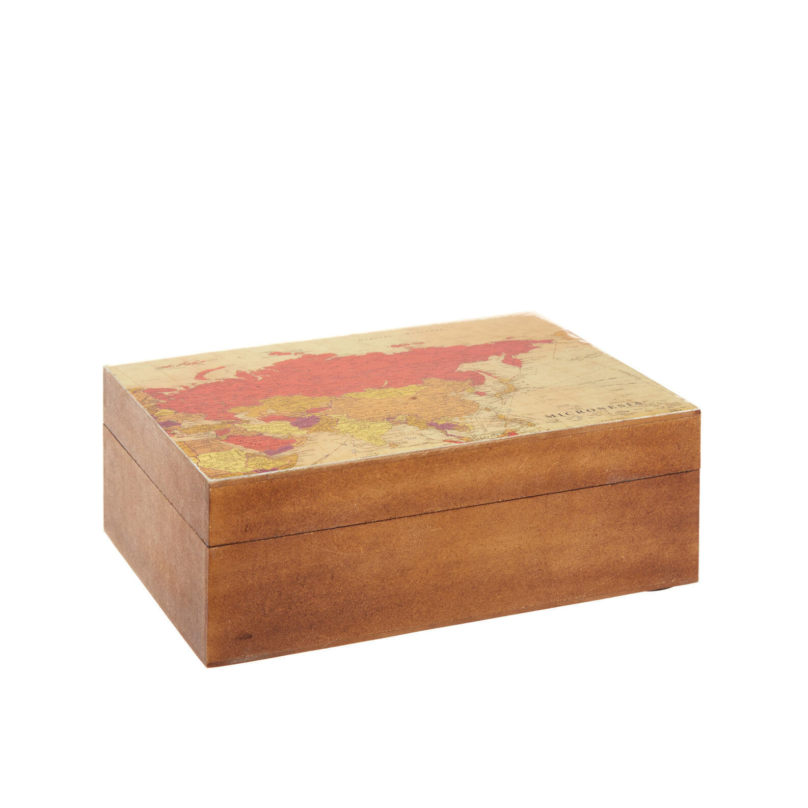 Vintage map motif box with lid