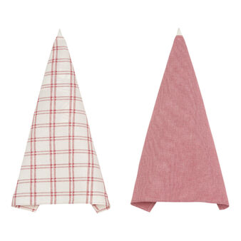Two-pack tea cloths in 100% cotton melange with checked pattern