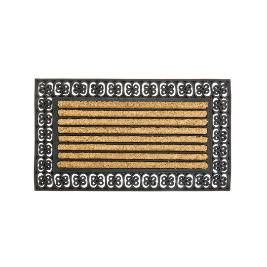 Striped doormat in coconut and rubber