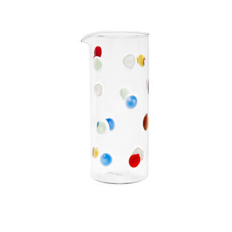Glass carafe with polka dot decoration
