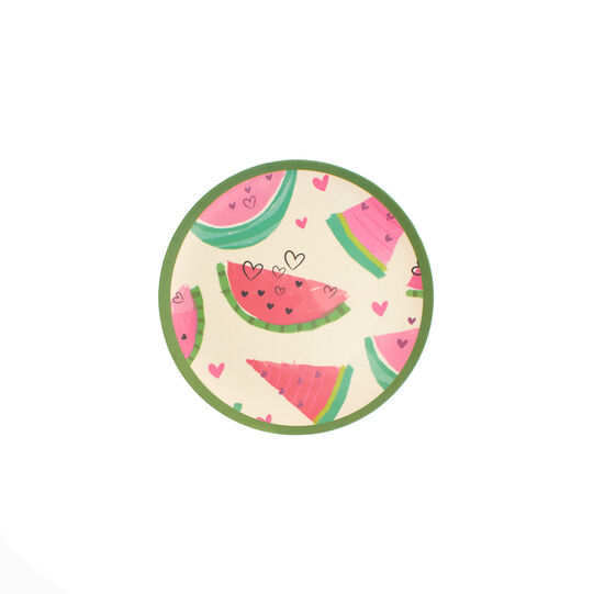 Watermelon  side plate in bamboo fibres