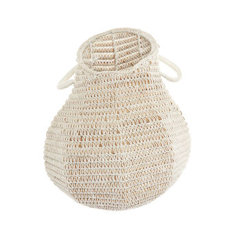 Handwoven palm leaf basket.
