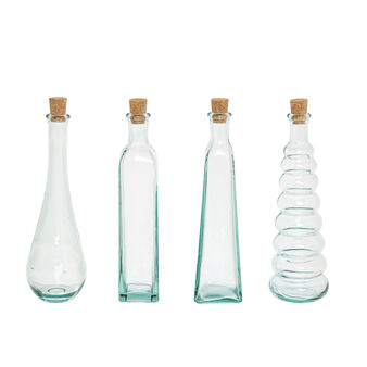 Set of 4 recycled glass bottles
