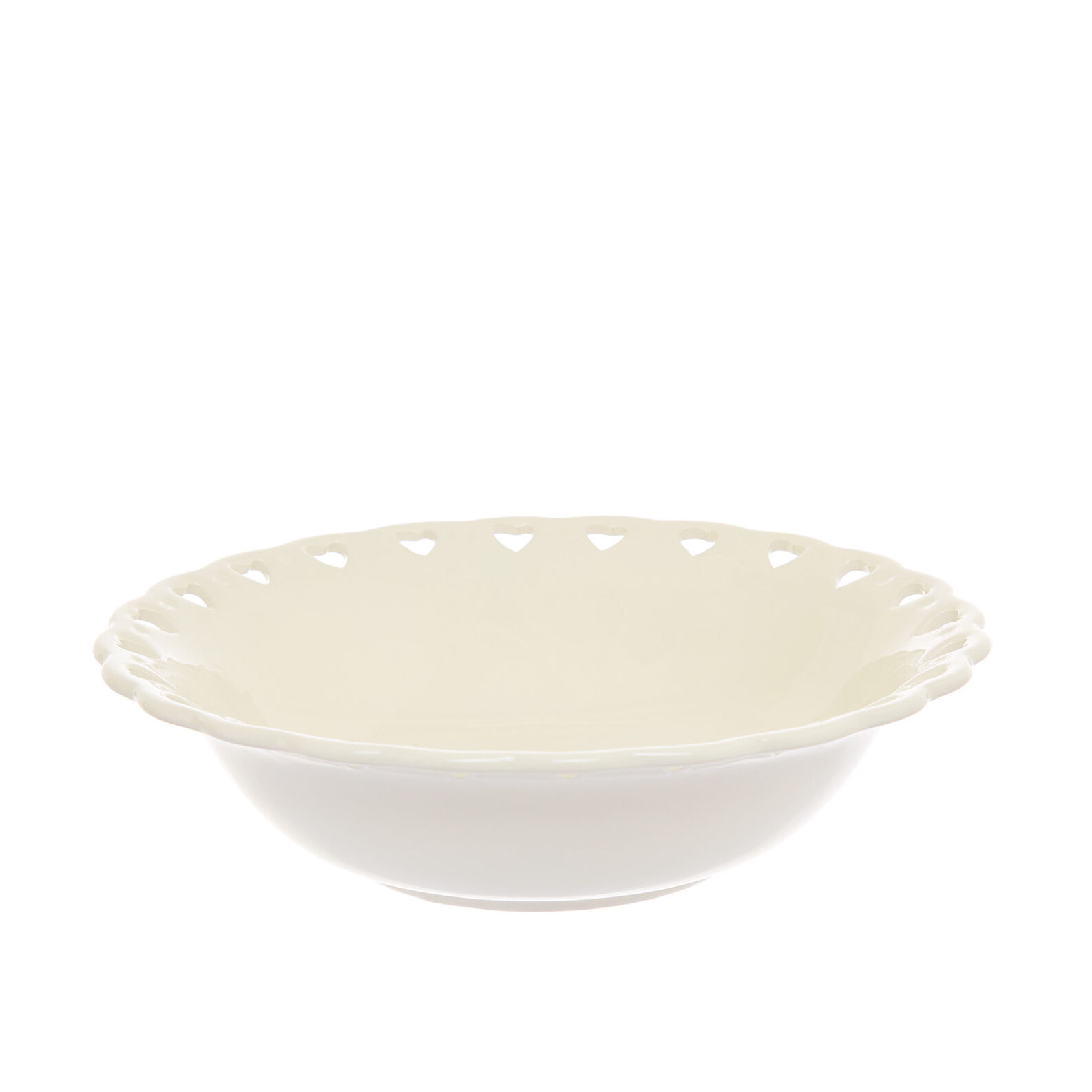 Ceramic salad bowl with openwork hearts
