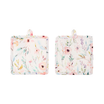 2-pack pot holders in cotton twill with roses print