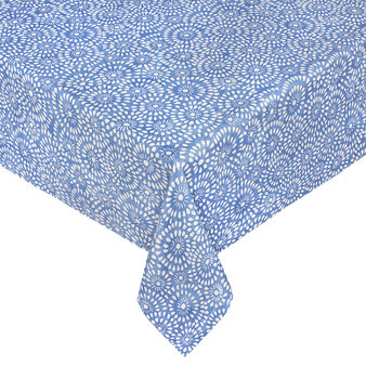 Cotton tablecloth with lace-effect print and water-repellent treatment