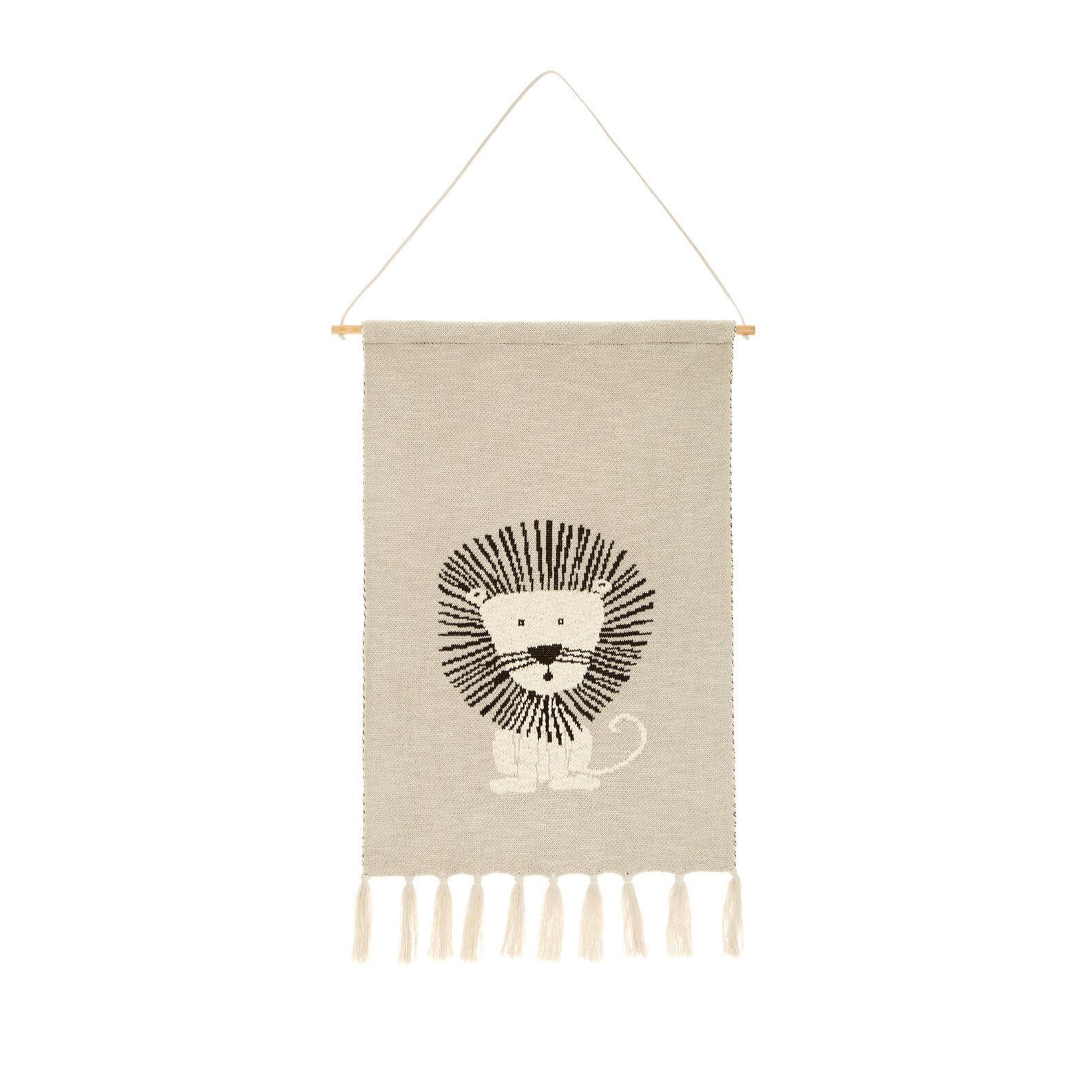 Knit cotton lion tapestry