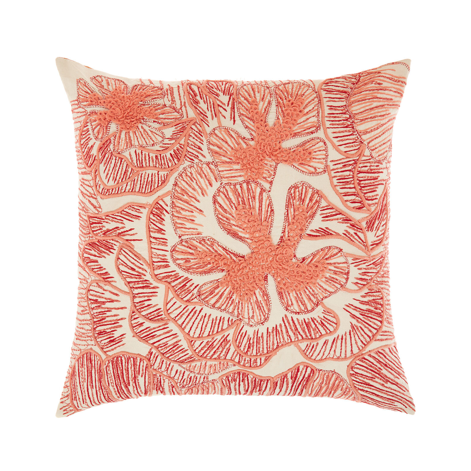 Cushion with floral embroidery