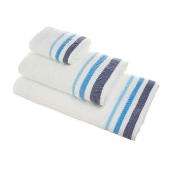 100% cotton towel with striped embossed edging